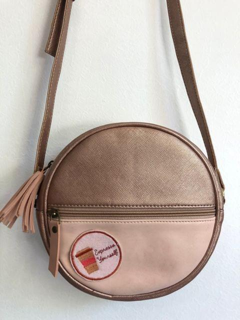 Prismatic Round Sling Bag with Patch - Rose Gold & Pastel Pink