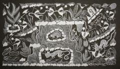 Warli Painting on Canvas-Theme- Vaghoba ani Jungle (Tiger in the Jungle)-B5