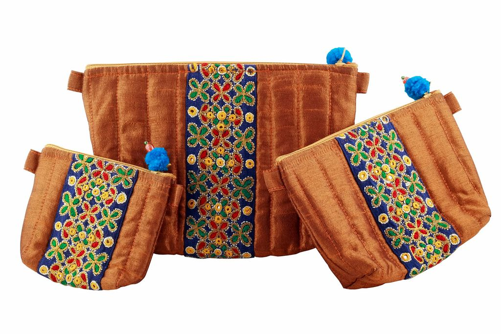 Embroidered Handcrafted Utility Pouch-Set of 3-VIVEKA