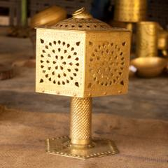 Hand Crafted Brass Rajwadi Hexagonal Lamp