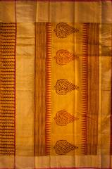 Maheshwari Handwoven Cotton-Silk Saree with Bagh Print- Turmeric Yellow