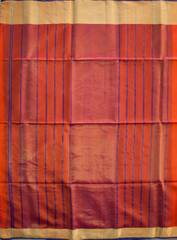 Maheshwari Handwoven Cotton-Silk Saree-Mulberry Silk-Orange