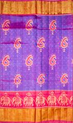 Single Ikat Patola Saree Handwoven-Pure Silk-Blue and Pink
