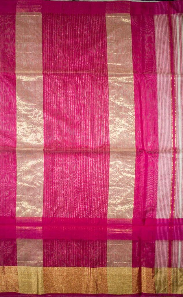 Maheshwari Handwoven Cotton-Silk Saree-White