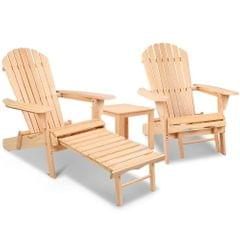 Adirondack Chairs and Ottoman Set
