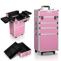 7 in 1 Portable Beauty Make up Cosmetic Trolley Case Pink