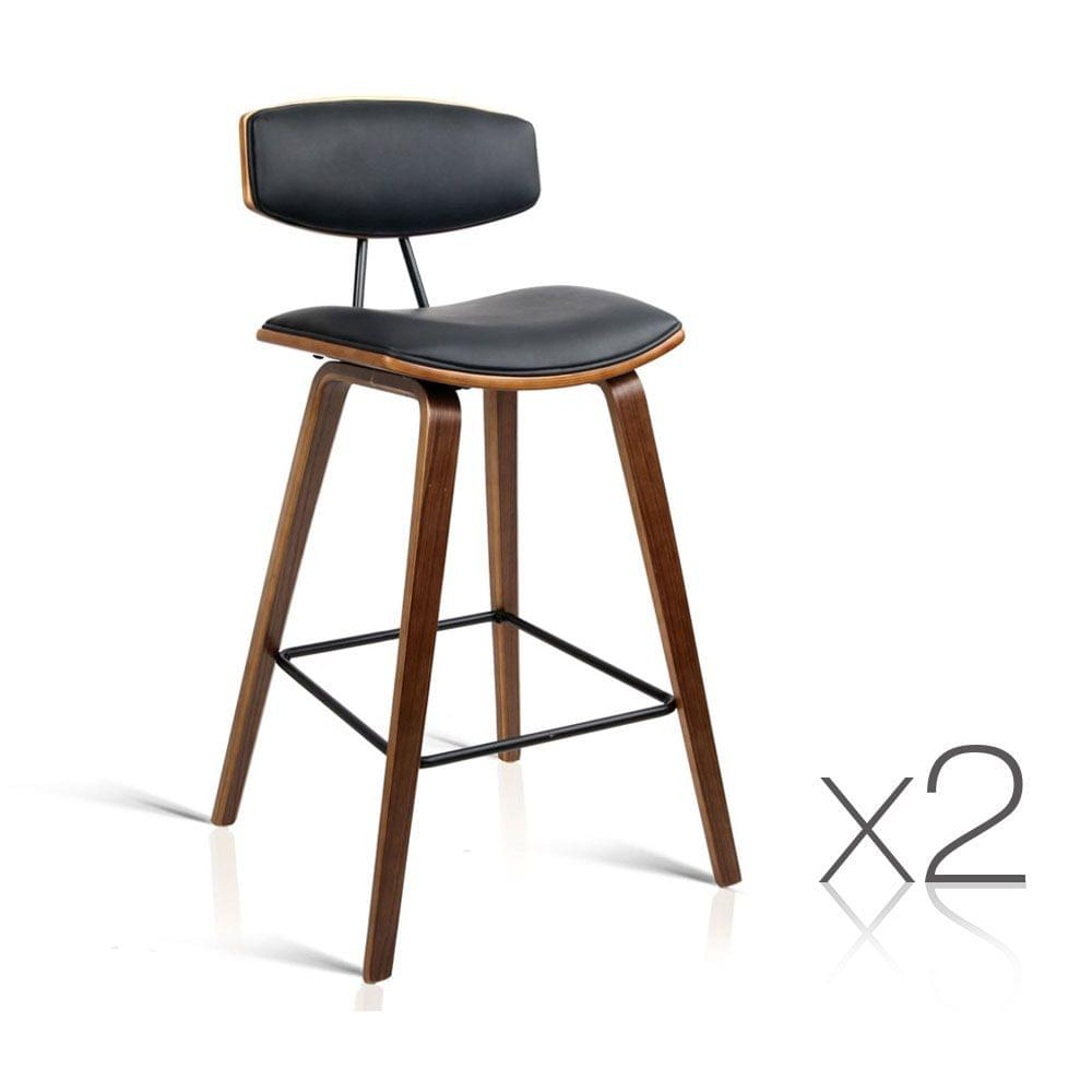 Set of 2 PU Leather Bar Stool with Metal Footrest Black