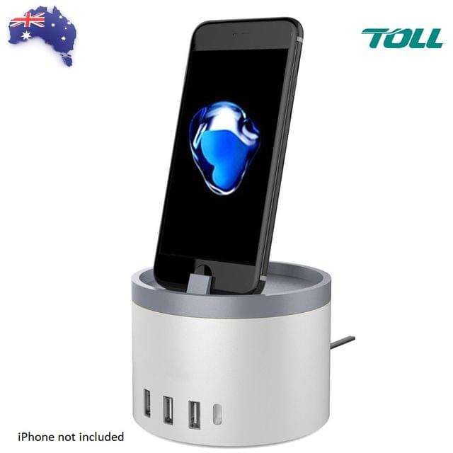 Charging Station with Dock for iWatch, Fitbit and iPhone with 4 USB Ports and 1 Type-C Port. OZ Stock !!