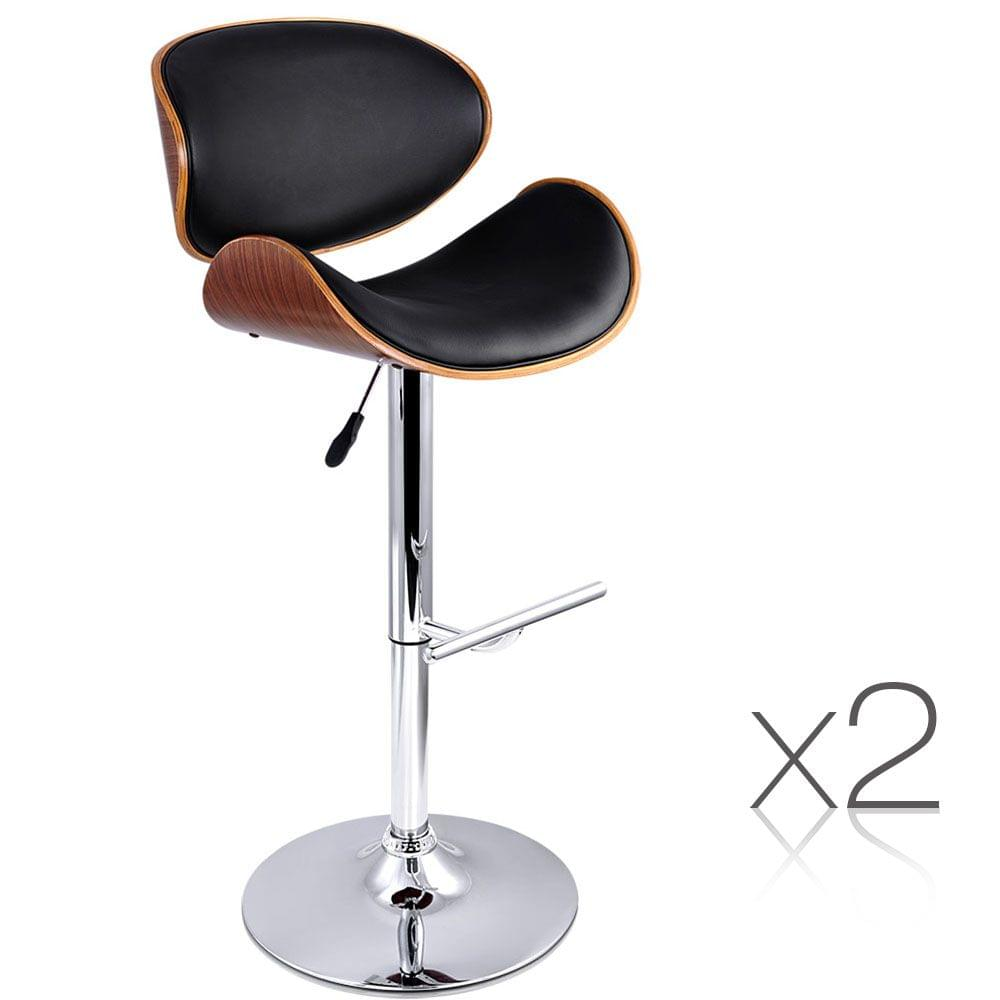 Set of 2 Wooden Kitchen Bar Stool Padded Seat Black