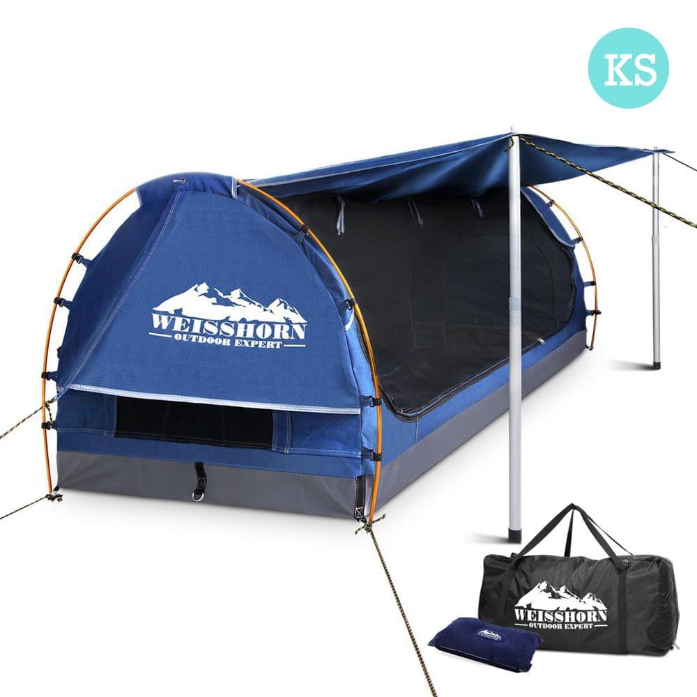 King Single Camping Canvas Swag with Mattress and Air Pillow - Blue
