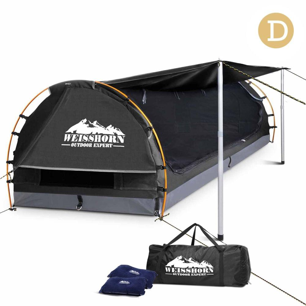 Double Camping Canvas Swag with Mattress and Air Pillow - Dark Grey