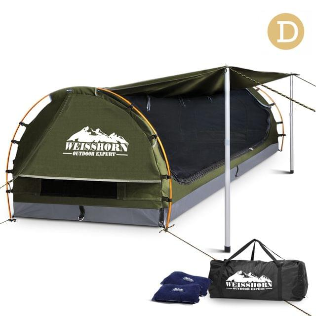 Double Camping Canvas Swag with Mattress and Air Pillow - Celadon