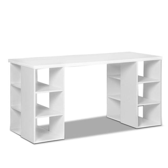 Computer Desk with 3 tier Storage Shelves White