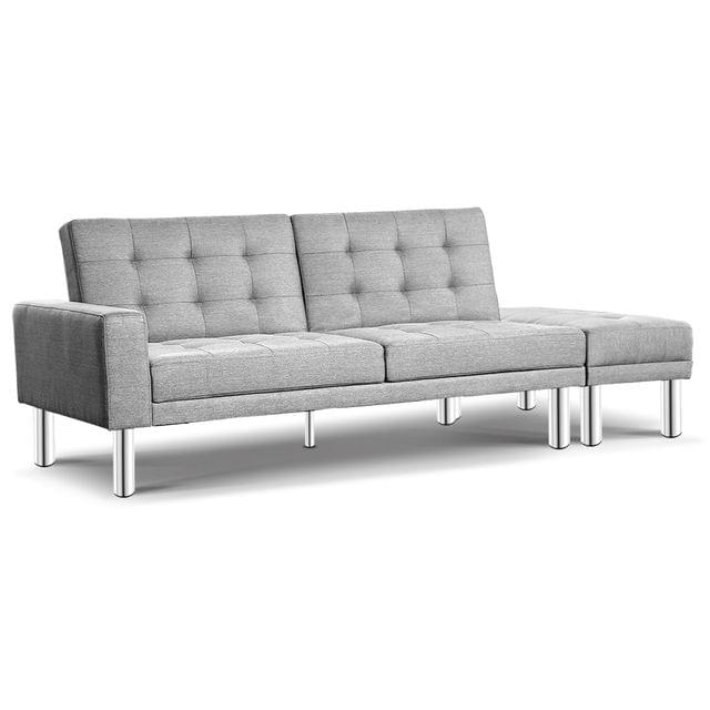 3-seater Fabric Sofa Bed with Ottoman Grey