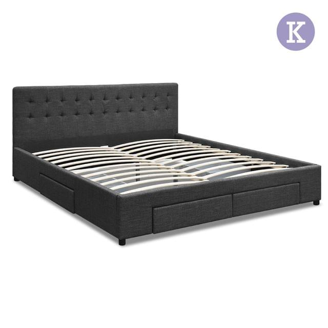 King Fabric Bed Frame with Storage Drawers Dark Grey