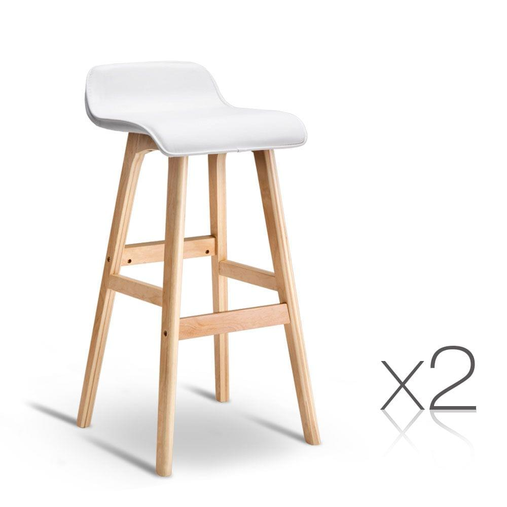 Set of 2 PU Leather Bar Stools White