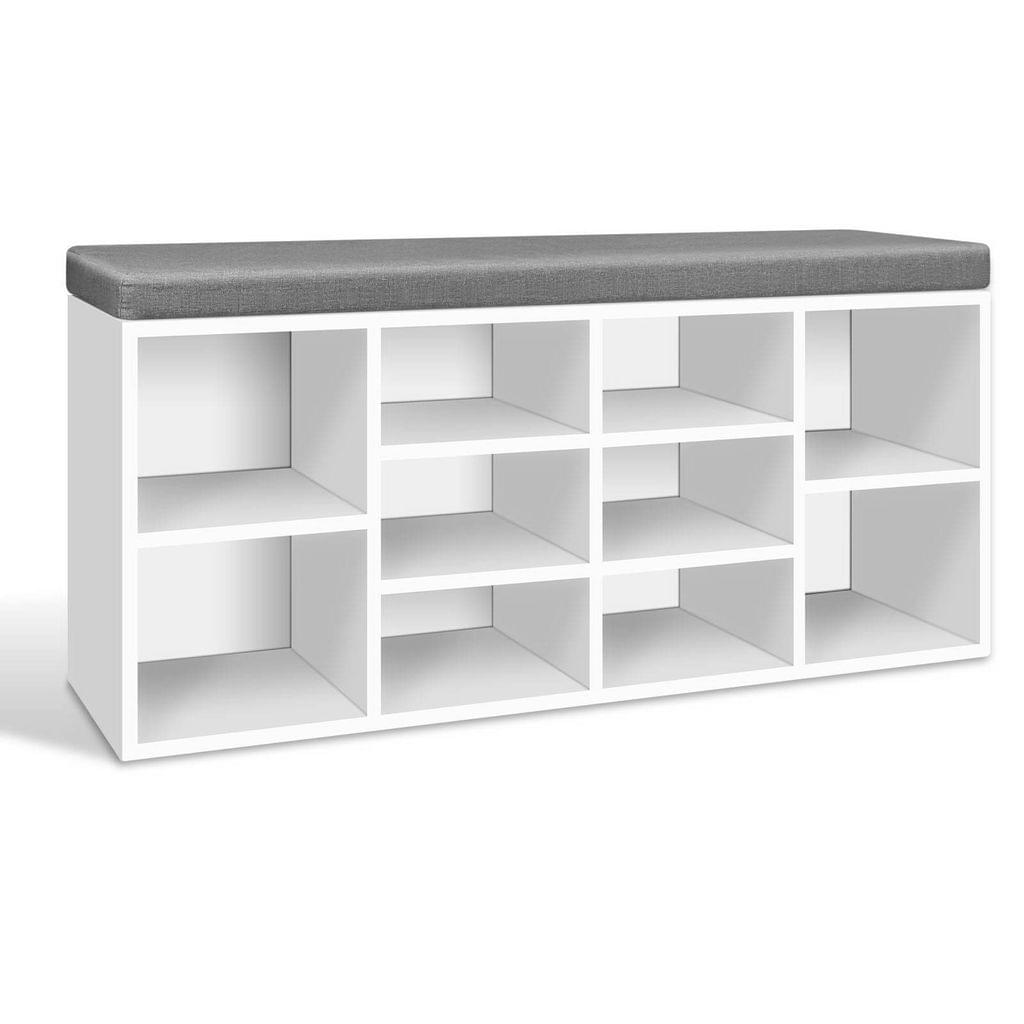 Fabric Shoe Bench with Storage Cubes
