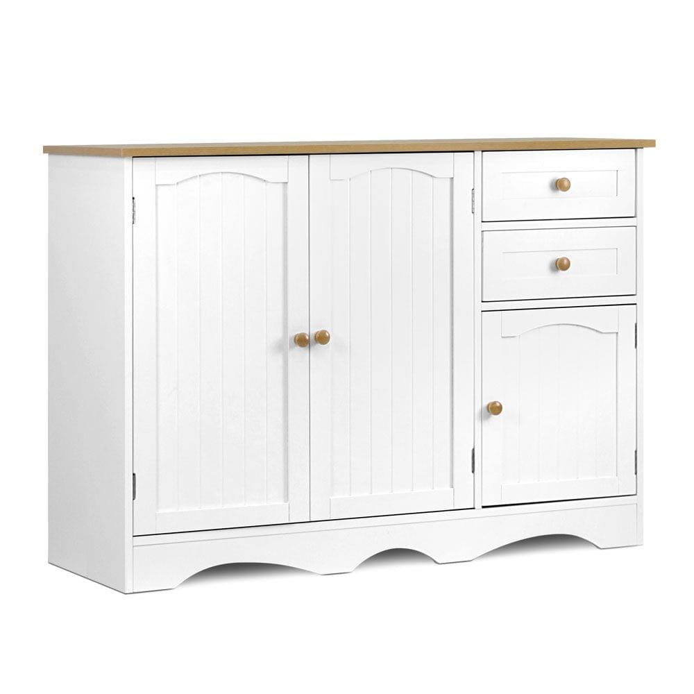 Kitchen Storage Buffet with Shelf - White and Light Brown