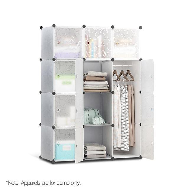12 Stackable Cube Storage Cabinet White