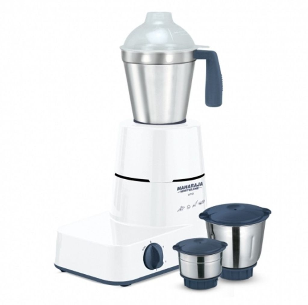 Maharaja Whiteline Uno 500 W Mixer Grinder(Blue And White, 3 Jars)