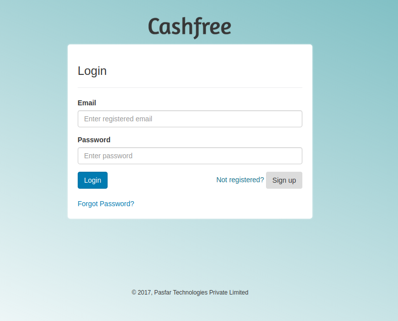 Setting up Cashfree as the Payment Gateway