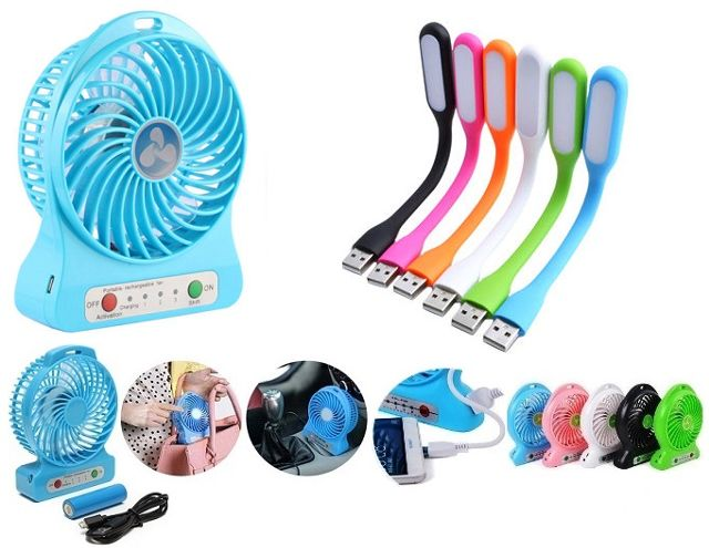 Combo of Fan with power bank and usb light