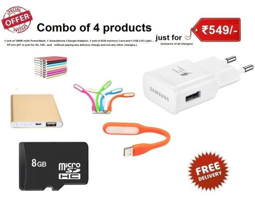 2600 mah power bank with 8 Gb card samsung Charger& usb light