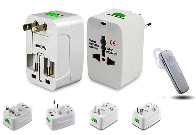 Universal World Wide Travel Charger Adapter Plug & Branded Bluetooth