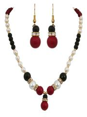 Regar Red Bead Chocker Necklace With Black Green & White Pearl
