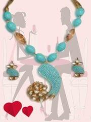 Stylish Sea Blue Beads With Golden Crystal Malaset