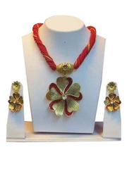 Crossing Cherry Red Strand With Beautiful Golden Flower Pendant