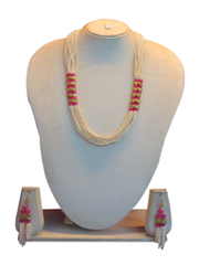 Stunning White Dangle Chain With Pink Beads