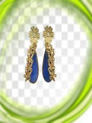 Royal Look Golden And Blue Earrings
