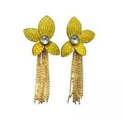 Beautiful Vatika Yellow Dangle Earrings