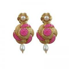 Pink Rose And Golden Hanging Earrings