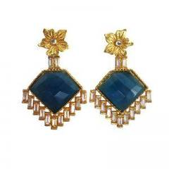 Royal Look Blue Dangle Drop Earrings