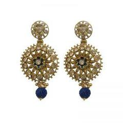 Stunning Golden With Blue Pearl Drop Earrings