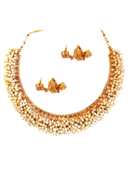 Gold Plated Pearl Studded Necklace Set