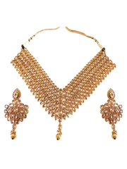 Royal Look Kundan Stone V Shape Necklace With Stunning Earrings