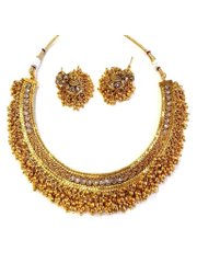 The Very Antique Design Golden Necklace Studded With Golden Beads