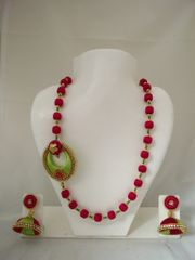 Pink Green Designed Shine Silk Thread Neck Set With Earrings