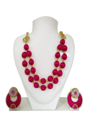 Double Strand Pink Silk Thread Necklace
