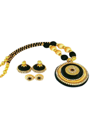 Stunning Black And Golden Silk Thread Jewelry Set With Jhumkey
