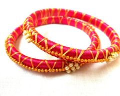 Allegorystyle Creations Pink Color Silk Thread Bangle Set