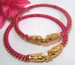 Shinning Pink Silk Thread Bangle Set