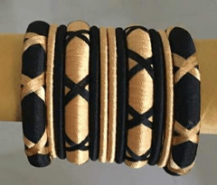 Stunning Golden Black Silk Thread Bangle Set