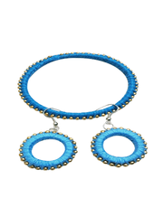 Stunning Blue Silk Thread Bracelet With Earrings