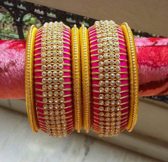 Adorable Silk Thread Bangles Set With Stone Work