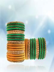 Trendy Silk Thread Bangles Set With Stone Work