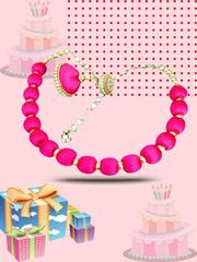 Trendy Pink Silk Thread Necklace Set With Earrings